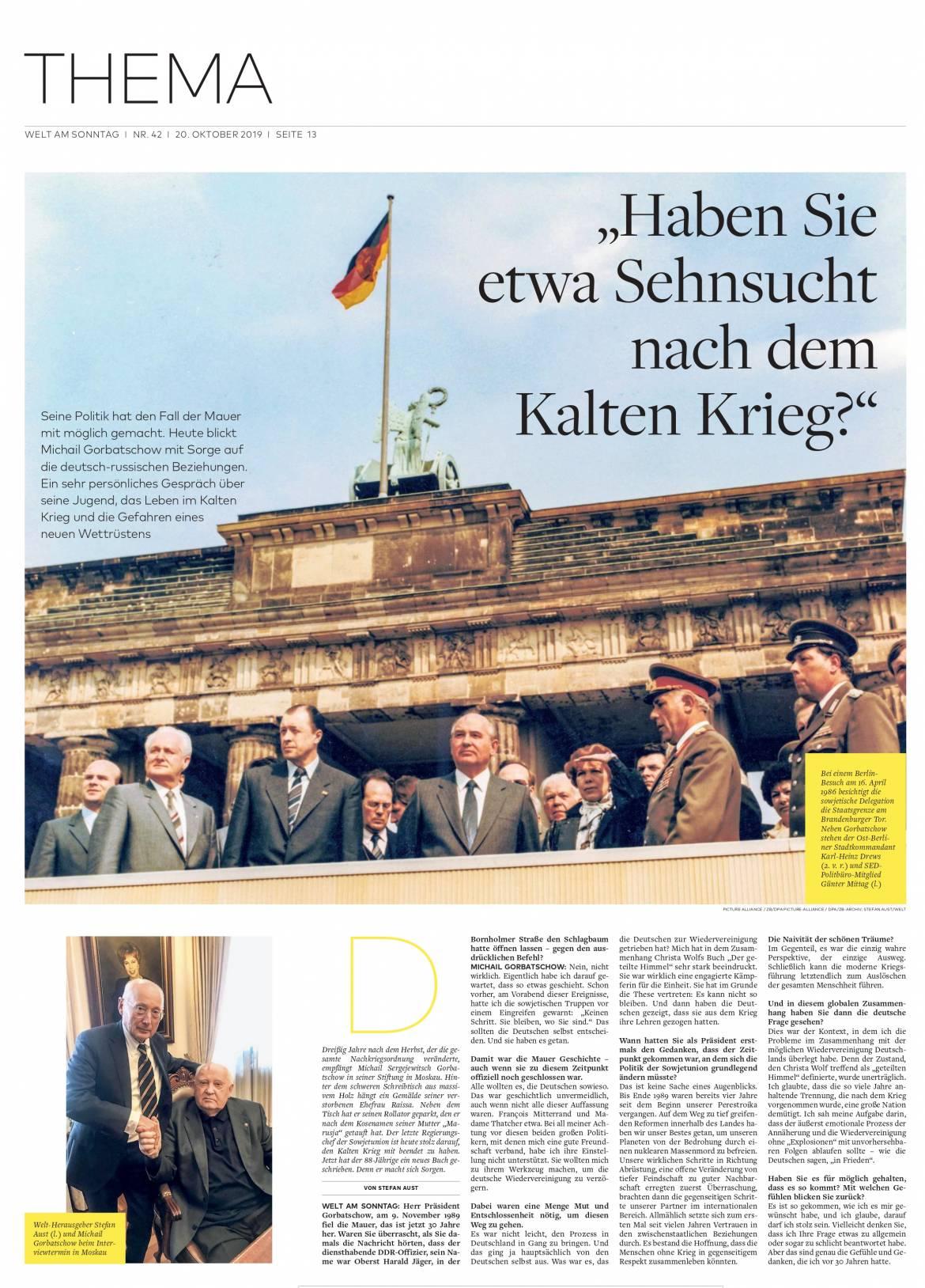Michail Gorbatschow im Interview mit Stefan Aust – WELT AM SONNTAG